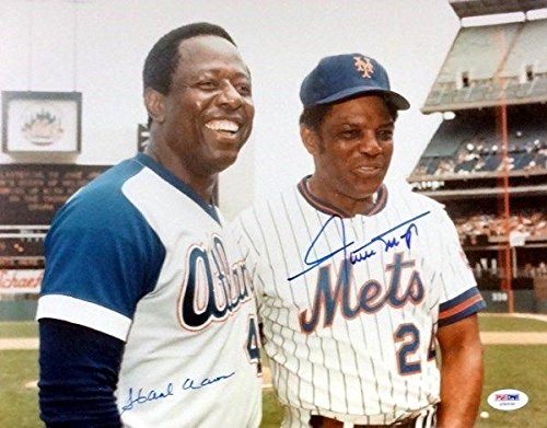 Hank Aaron and Willie Mays Autographed 11x14-inch Photograph