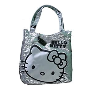 9837a8d54 Hello Kitty Viva La Glam Silver Sequin Tote Bag. Silver satin Hello Kitty  face on the front. Has Hello Kitty silver