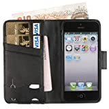 Fonerize Leather Wallet and iPhone 5 Case plus Card Holder with Strap in Black