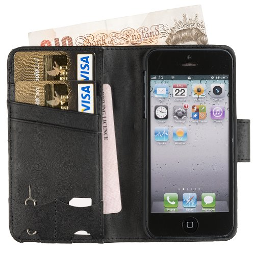 Special Sale Fonerize Leather Wallet Cell Case and Card Holder for iPhone 5 & 5S - Black