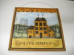 Live simply yellow saltbox house country home for Live simply wall art