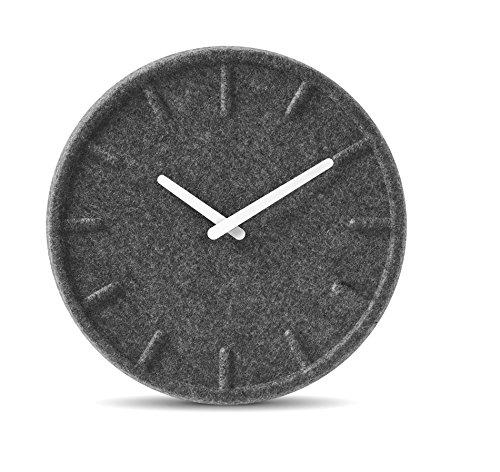 LEFF Amsterdam Uhr 35cm , Grau Uhr mit Weiss Hände