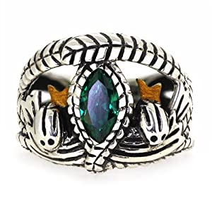 ARS Jewelery Lord of The Rings Style Aragorn's Ring of Barahir Real Sterling Silver Mens Boys Green CZ Ring Size 9