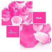 Adorable Mini Ring Jewel Popsicle Molds Popsicle Maker Mold w/ Drip Guard Handles (Pink)