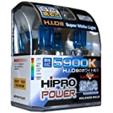 Hipro Power 9007 5900K 80/100 Watt Super White Xenon HID Headlight Bulb - Low & High Beam