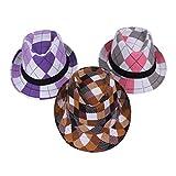 EOZY 3pcs 子供用中折れ帽子 つば広ハット コットン帽子 格子模様 吸汗通気 UVカット 紫外線防止 頭囲約54cm 夏お出かけ旅行通学 多色セット