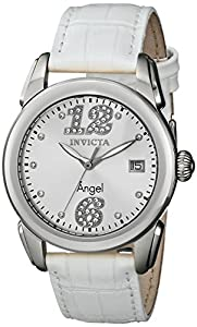 """Invicta Women's 15287 """"Angel"""" Stainless Steel and White Leather Strap Watch"""