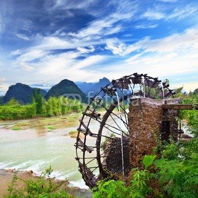 Wallmonkeys Peel and Stick Wall Decals - Bamboo Water Wheel - 18