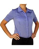 5260 Damen Body Bluse, Blusenbody, Baumwolle, kurzarm, einfarbig, weiß, schwarz, blau, XS, S, M, L, XL.