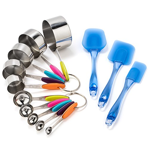 Stainless Steel Soft Grip Measuring Cups and Spoons with Easy Flex Translucent Blue Spatula Set (13 Pieces) by AttainIt Home Goods.
