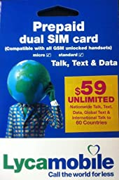 Lycamobile Dual (Regular & Micro) Sim Card with $59 Monthly Plan