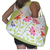 LARGE BEACH BAG Green With Multi Flowers (H)33cm x (W)51cm x (D)23cm
