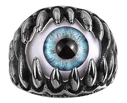 Aivtalk 個性的 目玉 シルバー リング 眼球 目ん玉 青 眼球リング シルバー 指輪 ギフトボックス付き(23号)