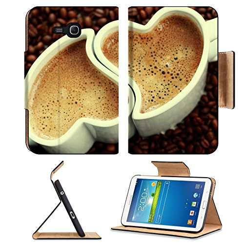 Coffee Beans Heart Shape Cups Samsung Galaxy Tab 3 7.0 Lite Flip Case Stand Magnetic Cover Open Ports Customized Made To Order Support Ready Premium Deluxe Pu Leather 7 12/16 Inch (190Mm) X 5 5/8 Inch (117Mm) X 11/16 Inch (17Mm) Msd Galaxy Tab3 Cases Tab_