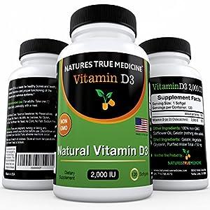 Natures True Medicine Vitamin D3 2000IU Supplement, 120 Sofrgels