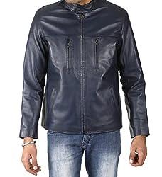 Shagoon Emporium Men's Leather Jacket(sh0023_Black_Large)