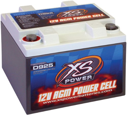 "XS Power D925 AGM Audio Series 2000 Max Amp 550 Cranking Amp 12V Battery with 6.5"" M6 Terminal Bolt"