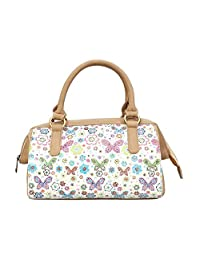 Ayeshu Bags Butterfly Printed Beige Canvas Hand-held Bag