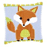 Vervaco Brown Green Fox Cross Stitch Cushion Multi Colour