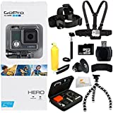 GoPro HERO Action Camera + 32GB Bundle 11PC Accessory Kit. Includes 32GB MicroSD Card + Reader + Head Strap + Chest Strap + Handheld Monopod + Premium Rugged Hard Case + Bobber Handle + Gripster + Memory Card Wallet + Microfiber Cleaning Cloth