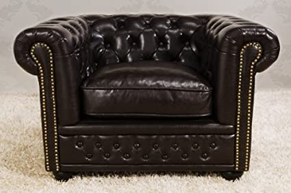 Chesterfield armchair dark brown - Casa Padrino - 9684 - Vintage Style Arm Seat Chair Lounge