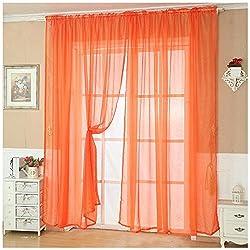 New Fashion Solid Color Tulle Door Window Curtain Drape Panel Sheer Scarf Valance orange
