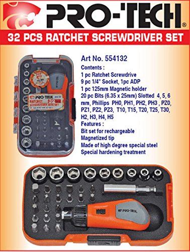 Pro-Tech-554132-Professional-Ratchet-Screwdriver-Bits-Set-(32-Pc)