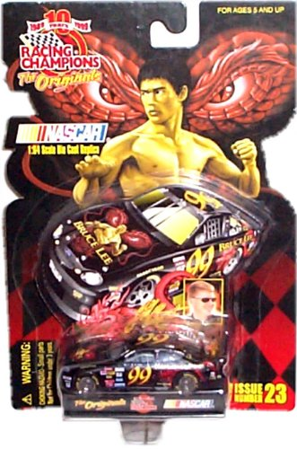 """Racing Champions 10th Anniversary - """"The Originals"""" - NASCAR 1:64 Scale Die Cast Replica w/ Display Stand & Die Cut Collector Card - 1998 Limited Edition 1/19,998 - Bruce Lee - Ford Tarus - Jeff Burton #99 - Issue #23"""