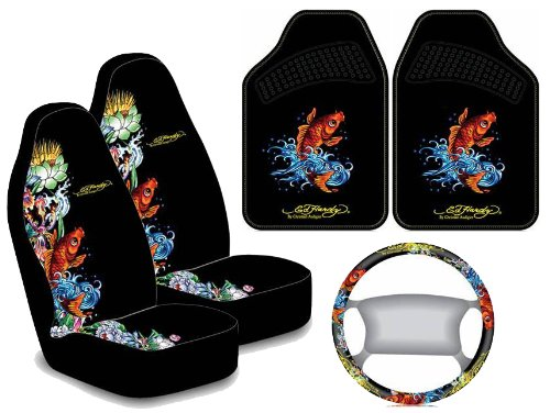 Ed Hardy Koi Fish Design Auto Accessories Interior Package - Front Floor Mats, Seat Covers & Steering Wheel Cover