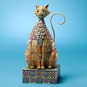"""Jim Shore """"Checkers"""" Cat with Checkered Pattern Figurine"""