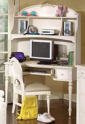 Buy Low Price Comfortable Vanity Computer Desk w/ Hutch by American Woodcrafters – Soft Parchment With Fly-Specking (10300-343R) (B004ZLGJUA)