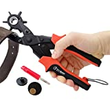Leather Hole Punch - PRECISE AND SHARP Round Holes with Ease - FREE Eyelet Pliers, 100 pc Eyelets, 2 EXTRA Punch Plates - Best Puncher for Belts and Other Materials - Get This Professional Multi Size Hole Maker Tool - 2 Yr Warranty and 60 Days MB!