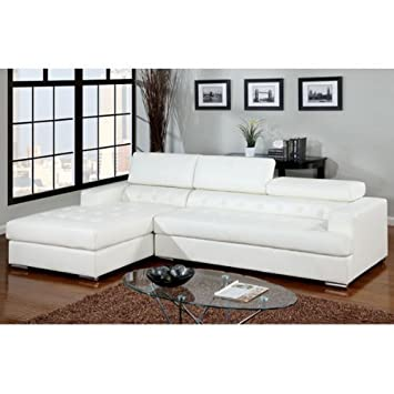 Contemporary Style White Bonded Leather Sectional Sofa Set by Furniture of America