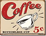 Coffee Bottomless Cup 5 Cents Distressed Retro Vintage Tin Sign from Poster Revolution