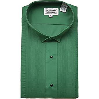 Mens 1 8 wing tip collar emerald green tuxedo shirt with Emerald green mens dress shirt