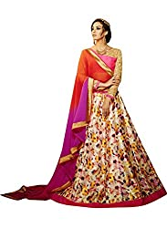 Suchi Fashion Digital Printed Cream Banglori Silk Semi-Stitched Lehenga Choli