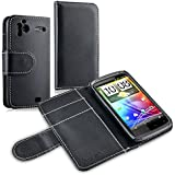 Insten Leather Case with Card Holder Compatible with HTC Sensation 4G, Black