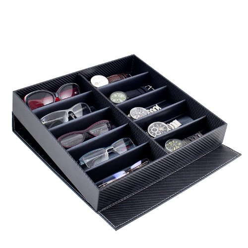 Caddy Bay Collection Carbon Fiber Pattern Large Sunglasses Case Display Storage Watch Box with 10 Slots