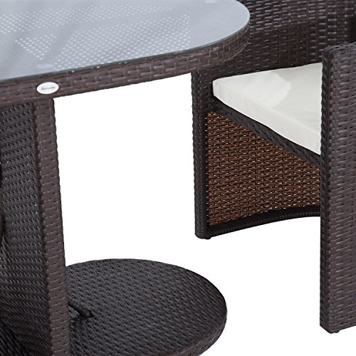 Outsunny 3 Piece Table and Chair Rattan Wicker Patio Furniture Set, Gray patio rattan table chair outdoor garden rattan furniture uk sale