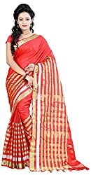 MADEII E-commerce Women's Cotton Saree with Blouse Piece (Red)
