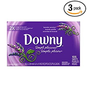 Downy Simple Pleasures Fabric Softener Sheets, Lavender Serenity, 105-Sheets (Pack of 3)
