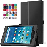 MoKo Fire HD 8 2015 Case - Slim Folding Cover with Auto Wake / Sleep for Amazon Kindle Fire HD 8 Inch Display Tablet (2015 Release Only), BLACK