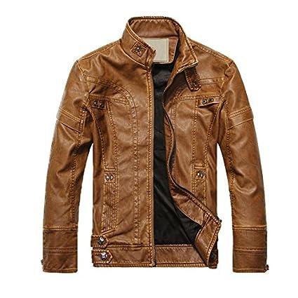 SODIAL(R) 2014 NEUF Mode Hommes Cuir cuir manteaux de moto veste lave manteau de cuir Terre Jaune Taille L