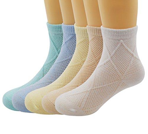 Zando Ultra Soft Cotton Cushioned Seamless Unisex Baby Cute Causal Crew Socks K 5 Pairs L(4-6 years (Cartoon Cowgirl)