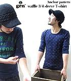 grn/ジーアールエヌ ワッフル七分袖Tシャツ 3COLORS(3色展開) GRN-PW301-A (2-Mサイズ, BLACK)