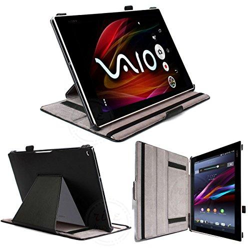 rise products co., ltd.3 点セット 防指紋フィルム1枚タッチペン1本付クレードル充電対応ケース オートスリープ機能付 タッチペンホルダー付 2段階スタンド調整機能付 スタイリッシュな sony Xperia Z2 Tablet docomo SO-05F/au SOT21/SGP521専用ケース (z2 tablet スタンド充電対応ケース ブラック)