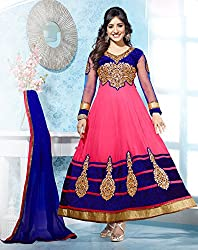 Enigmatic Pink and Midnight Blue Long Anarkali Suit