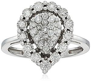 10k White Gold Pear Shaped Diamond Ring (1/2cttw, I-J Color, I2-I3 Clarity), Size 7