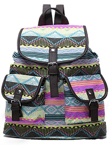 Mona Vintage Retro, School Girl, Designer Backpack Styled with Green Aztec Print, Durable Canvas Material. For School, College, Travel, Office, Camping, Outdoor Trek And Shopping, Overnight and Day Wear