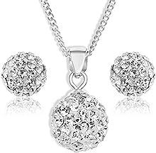 Bijoux pour tous SPE6080C - Juego de joyas de plata de ley con cristal